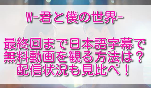 W-君と僕の世界-最終回まで日本語字幕で無料動画を観る方法は?配信状況も見比べ!