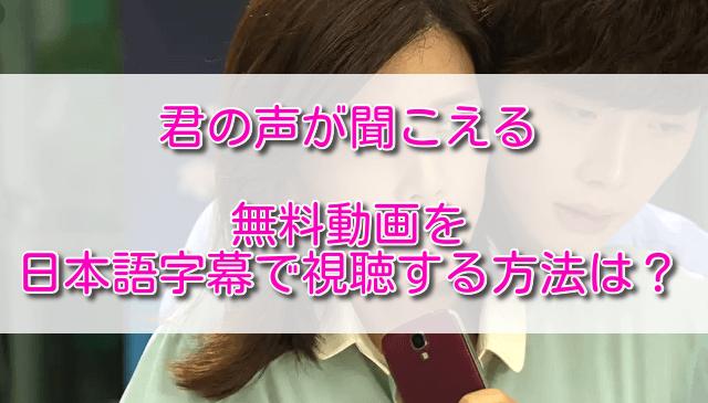 君の声が聞こえる無料動画を日本語字幕で視聴する方法