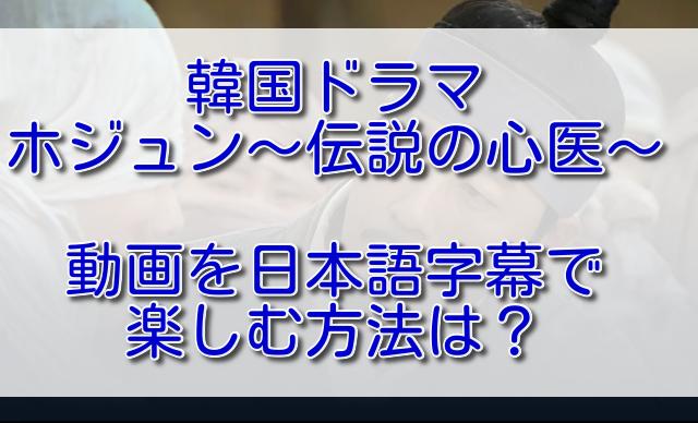 韓国ドラマホジュンの動画を日本語字幕で楽しむ方法は?
