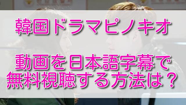 韓国ドラマピノキオの動画を日本語字幕で無料視聴する方法は?