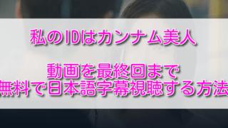 私のIDはカンナム美人動画を最終回まで無料で日本語字幕視聴する方法