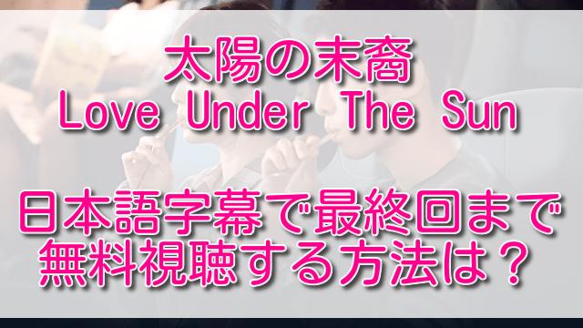 太陽の末裔動画を日本語字幕で最終回まで無料視聴する方法は?